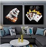 SXXRZA Impresión en Lienzo 2 Piezas 40x40 cm sin Marco Juego Inteligente naipe Cartel Arte de la Pared impresión de Imagen Casino Club Mural Sala de Estar decoración del hogar