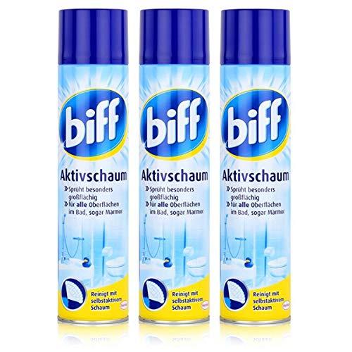 biff Aktivschaum Badreiniger 600ml - Reinigt mit selbstaktivem Schaum (3er Pack (3 x 600ml))