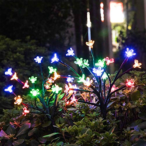 Garden Solar Lights Outdoor Decorative - LED Solar Powered Fairy Landscape Tree Lights|Beautiful Solar Flower Lights for Pathway Patio Yard Deck Walkway|Christmas Party Decor Yellow-Color 2Pack