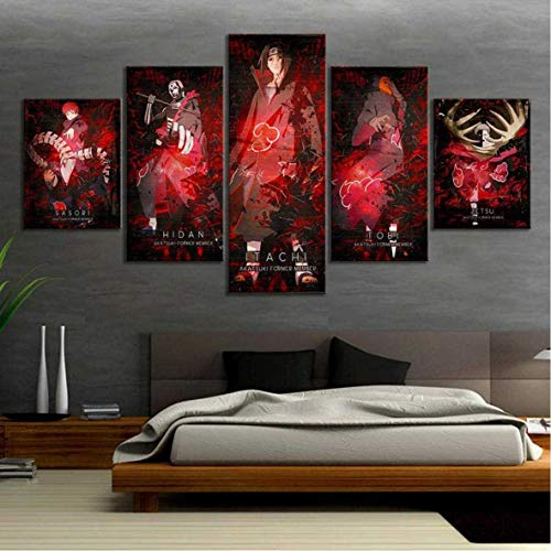 ThreU-Leinwandbild Druck 5 Stück Leinwand,Naruto, Akatsuki, Uchiha Itachi, Obito, Sasori, Modular Wandkunst,Home Dekoration,Modernes Plakat, 150Cm×80Cm,Mit Rahmen