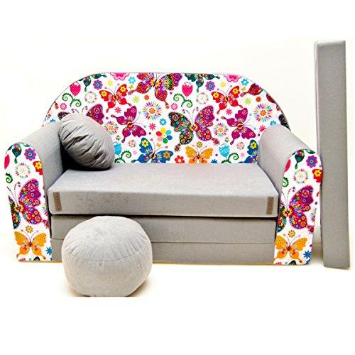 Couch Kindercouch Kindersofa Kinder Sofa Schlafsofa Kinderzimmer Bett gemütlich grau (A33 Schmetterlinge)