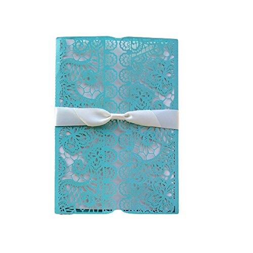Lot de 20 Invitations De Mariage Blanc Plumes Ruban De Dentelle Avec Enveloppes 20 PCs Bleu