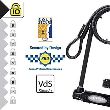 MASTER LOCK Antivol U avec Câble [A Clé] [Support de Vélo Universel] [Antivol Certifié] [Modèle XL] 8285EURDPRO - Idéal pour les Vélos, Vélos Electriques, VTT et autres