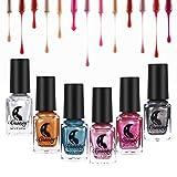 Esmalte de uñas Efecto de espejo, 6 colores esmalte de uñas metálico Colorido brillante herramienta de arte de uñas(6 colores)