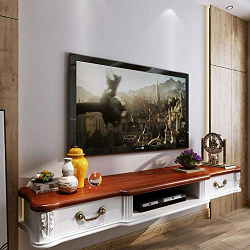 Wandmontage TV kast Ophangkast Massief hout Wandplank Zwevende plank Set top box router Speelgoed foto Opslagplank Met lade TV console, 140cm, Bruin Wit
