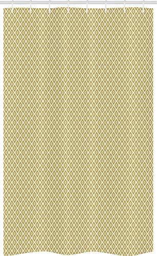 ABAKUHAUS retro Douchegordijn, Diamond Line Pattern, voor Douchecabine Stoffen Badkamer Decoratie Set met Ophangringen, 120 x 180 cm, Yellow and Cream