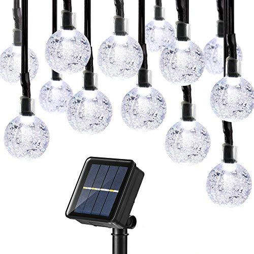 Joomer Outdoor Solar String Lights 39Ft 60 LED Upgraded Solar String Lights,8 Modes Waterproof Crystal Ball Lights Solar Fairy Patio Lights for Garden, Lawn, Porch, Gazebo, Bistro Decor(White)