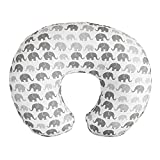 Boppy Nursing Pillow Cover—Premium | Gray Elephants Plaid | Soft, Quick-Dry Microfiber Fabric| Fits Boppy Bare Naked, Original and Luxe Breastfeeding Pillow | Awake Time Only