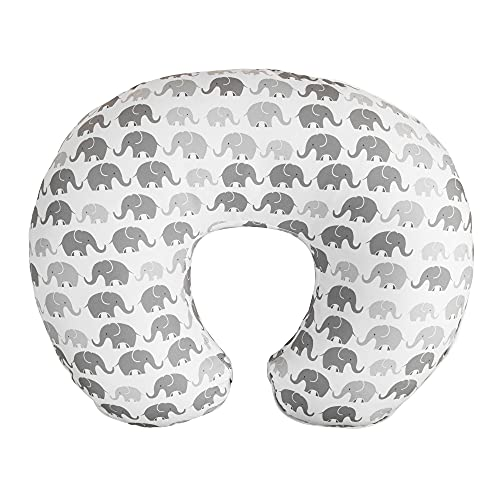 Boppy Premium Nursing Pillow Cover, Gray Elephants Plaid, Ultra-soft Microfiber Fabric in a fashionable two-sided design, Fits All Boppy Nursing Pillows and Positioners