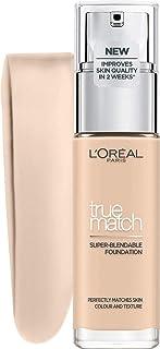 L'Oréal Paris True Match trwały podkład do twarzy w płynie, pielęgnujący z kwasem hialuronowym, SPF 17, 0.5 N Porcelain, 3...