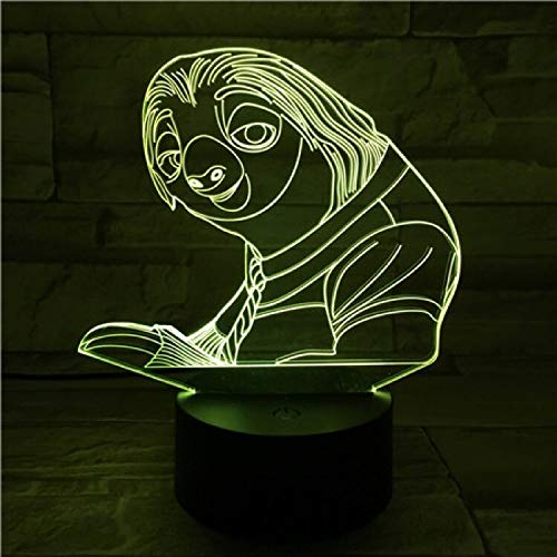 Lámpara 3D de diseño artístico único perezoso para luz nocturna LED junto a la cama con control remoto portátil de Navidad