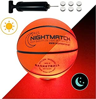 NIGHTMATCH Light Up Basketball - Youth Size 5 - Extra Pump and Batteries -Perfect Glow in The Dark Mini Basketball with Sp...