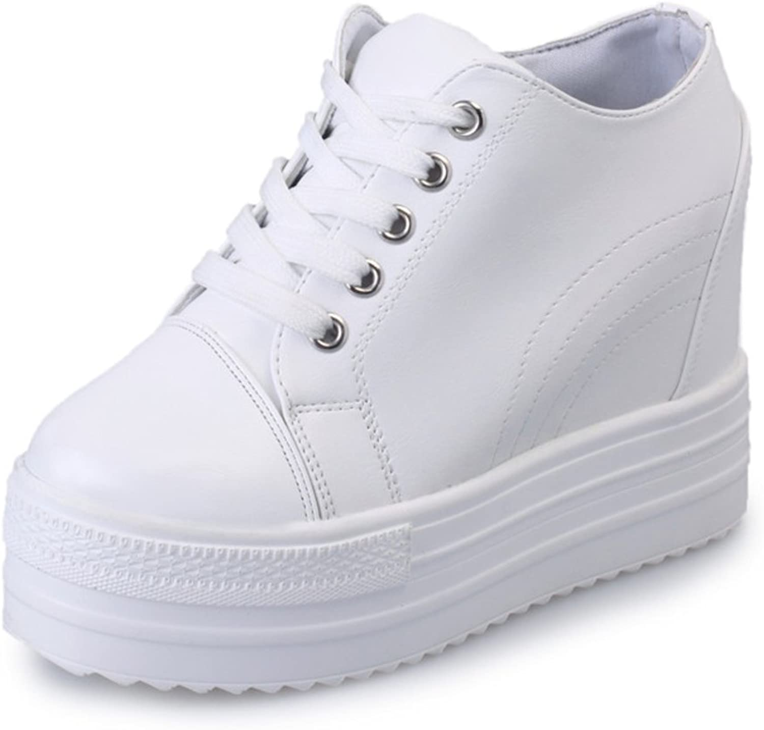 Huhuj Fall within the Institute of wind increased leisure shoes white-tie white shoe Thick-soled platform shoes