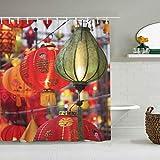 JIOLK Cortina de baño Repelente al Agua,Festival de faroles Coloridos de Asia,Cortinas de baño de poliéster de diseño 3D con 12 Ganchos,tamaño 180 x 210cm