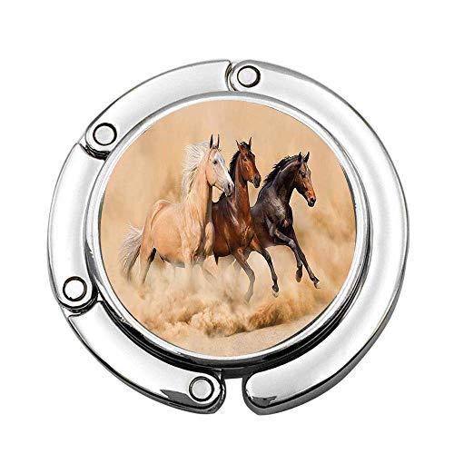 Three Horse Running in Desert Storm Mythical Mystical Messenger Animals in Habitat Print Custom Purse Hook Foldable Handbag Hanger Folding Table Hanger