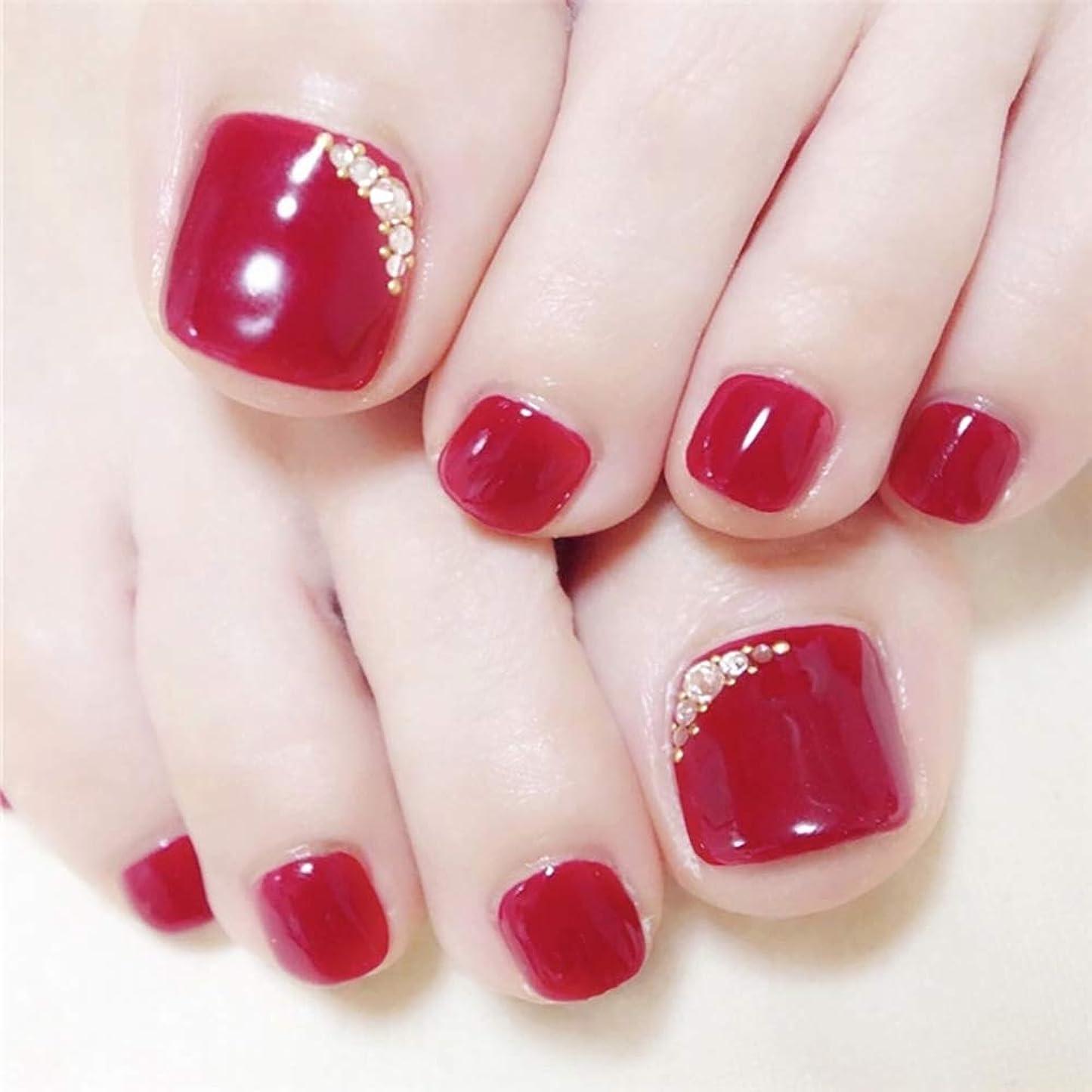 広く安いですネクタイSIFASHION ネイル花嫁 ビーチ パーティー 足の爪のネイルチップ レッドフラッシュドリル 手作りネイルチップ 足指の爪