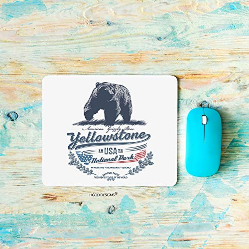 HGOD DESIGNS Gaming Mouse Pad Grizzly Bear,National Park Yellowstone Mousepad Rectangle Non-Slip Rubber Mouse Pads(7.9'X9.5')