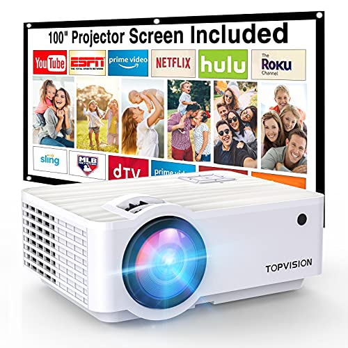 """Projector,TOPVISION 6000L Mini projector with 100"""" Projector Screen,..."""