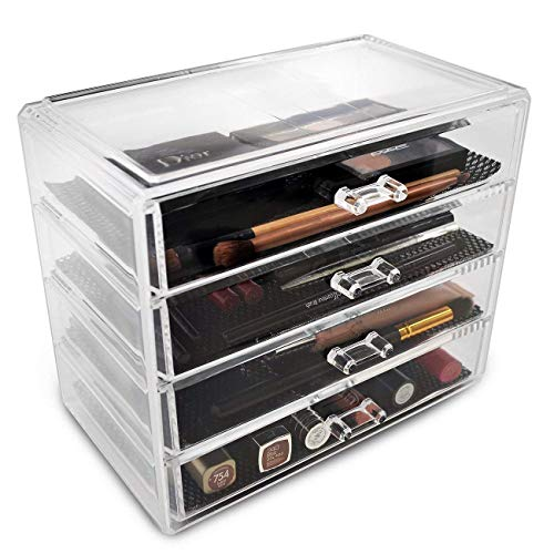 Sorbus Acrylic Cosmetics Makeup and Jewelry Storage Case Display– 4 Large Drawers Space- Saving, Stylish Acrylic Bathroom Case Great for Lipstick, Nail Polish, Brushes, Jewelry and More (Clear)