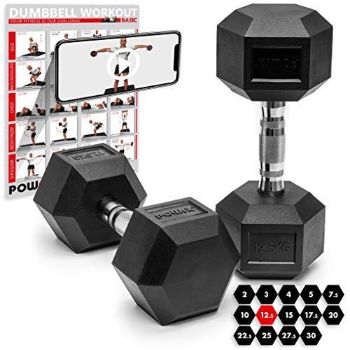 POWRX Hexagon Kurzhanteln 2er Set gummiert | Hantel-Set 2 x 5 kg, 2 x 7,5 kg, 2 x 10 kg, 2 x 12,5 kg, 2 x 15 kg, 2 x 17,5 kg, 2 x 20 kg, 2 x 22,5 kg, 2 x 25 kg, 2 x 27,5 kg, 2 x 30 kg, 2 x 32,5 kg (15 kg)