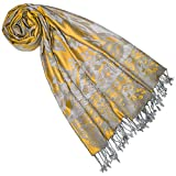 LORENZO CANA Marcas Pashmina – Bufanda de mujer de fibra natural, estola de flores, 70 cm x 210 cm Color gris mostaza Talla única