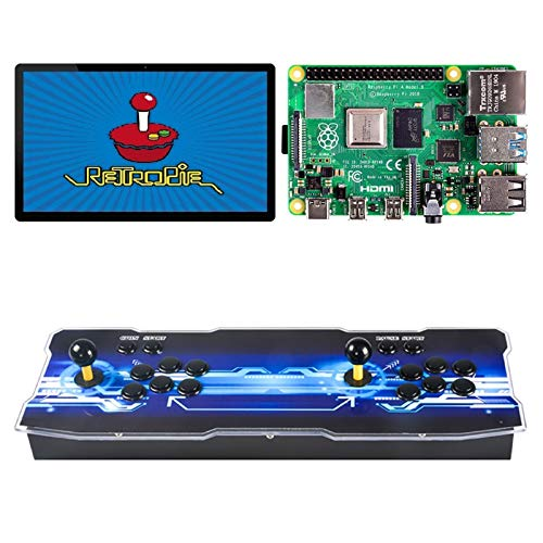TAPDRA 10000+ Retro Games Arcade Console for Raspberry Pi 4 Model B(4G Ram Edition) HD 720P ES Retropie with 45+ Emulators Supports 4 Players(vision)