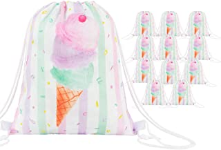 WERNNSAI Ice Cream Party Favor Bag - 12 Pack 10'' x 12'' Party Gift Bags Reusable Goodie Bags Sweet Pink Party Supplies for Girls Birthday Baby Shower Summer Pool School Washable Backpack Wrap Bags