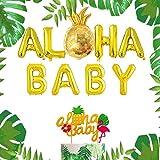 JeVenis Gold Aloha Baby Balloons Aloha Baby Sign Aloha Baby Party Decoration for Aloha Baby Shower Tropical Wedding Party Decor