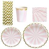 TOYMYTOY Juego de 69 platos de cartón desechables (oro rosa)
