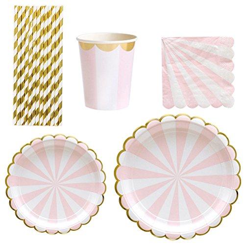 TOYMYTOY Piatti per piatti in carta Set di cannucce Set per feste, 69Pcs (Rosa)