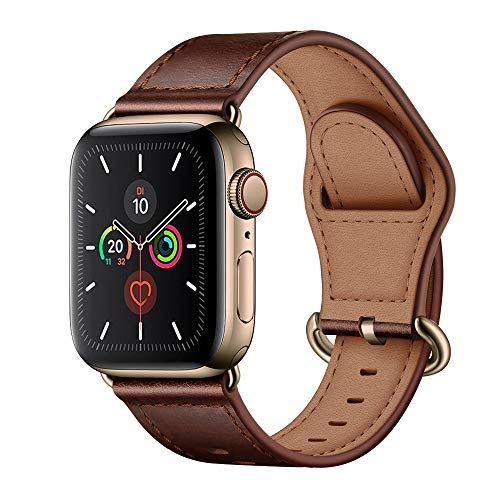 Arktis - Correa de Piel auténtica con Hebilla y Conectores de Acero Inoxidable, Compatible con Apple Watch 42mm (Series 1, Series 2, Series 3) y 44mm (Series 4, Series 5) - castaño