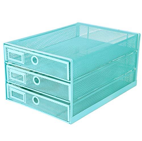 Exerz Cajón archivador de Oficina/Clasificador de Papel con 3 Cajones/Cajonera para archivadores/Organizador Para el Escritorio (Turquoise)