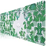 Large Green Gaming Mouse Pad for Laptop, Long Desk Keyboard Pad for Computer,Original Nature Plant Succulents and Cat Mouse Pad for Home Office, 27.6x11.8X0.12IN (Green Cactus)