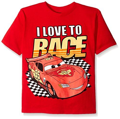 Disney Boys' Little Boys' Cars Lightning Mcqueen T-Shirt, I Love to Race Red, Medium/5/6
