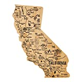 Airrioal California State Shaped Bamboo Serving and Cutting Board, Texas State Gifts for Home, Kitchen Wall Art Decoration (California)