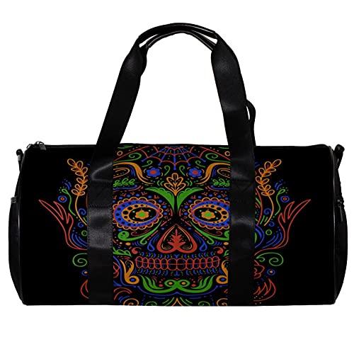Bolsa de deporte redonda con correa de hombro desmontable colorido azúcar cráneo decoración bolso de entrenamiento para mujeres y hombres