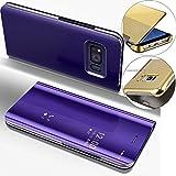 COTDINFOR Samsung S6 Funda Espejo Ultra Slim Ligero Flip Funda Clear View Standing Cover Mirror PC + PU Cover Protectora Bumper Case para Samsung Galaxy S6 Purple Mirror PU MX.