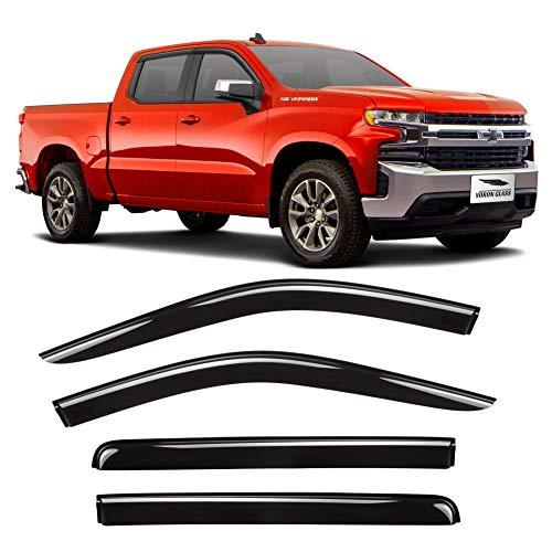 Voron Glass Tape-on Extra Durable Rain Guards for Trucks Chevrolet (Chevy) Silverado/GMC Sierra 2019-2021 Crew Cab, Window Deflectors, Vent Window Visors, 4 Pieces - 120086