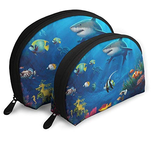 Shark Pattern Pouch Zipper Toiletry Organizer Travel Makeup Clutch Bag Portable Bags Clutch Pouch Storage Bags