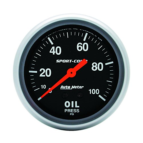 Auto Meter 3421 Sport-Comp Mechanical Oil Pressure Gauge Regular, 2-5 8  (66.7mm)