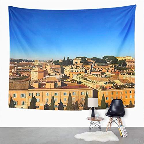 Y·JIANG Tapiz de paisaje Roma, enfoque selectivo paisaje urbano de Roma, la capital de la región de Lazio, tapiz decorativo grande para el hogar, dormitorio, 152,4 x 127 cm