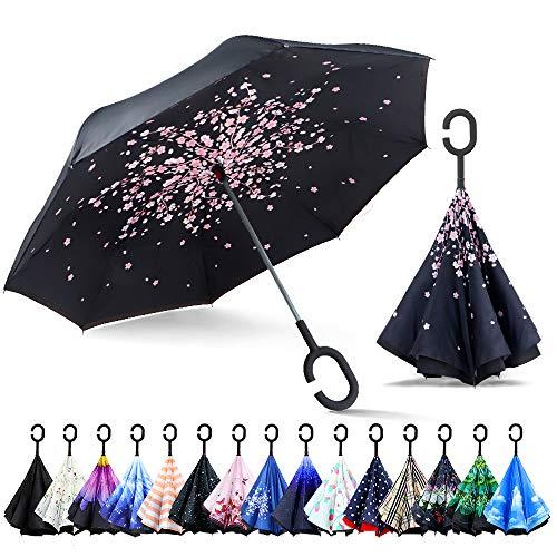 ZOMAKE Inverted Stockschirme, Innovative Schirme Double Layer, Winddicht Regenschirm, Freie Hand,Umgedrehter Regenschirm mit C Griff für Auto Outdoor (Pfirsichblüte)