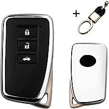 MAXMILO Soft TPU Case Cover Protector Case for Lexus Key Fob, Car Remote Key Fob Case for for Lexus RX CT GS NX ES RC RCF GSF Fob Remote Key+Keychain (Silver)