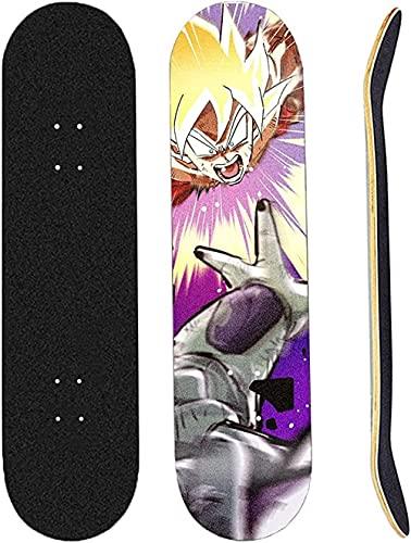 Monopatín Completo Mini Cruiser 31 X 8 Pulgadas 9 Capas De Arce Canadiense Rodamiento ABEC-7 para Principiantes Adolescentes Niños Y Niñas Cuatro Ruedas Anime Skateboard
