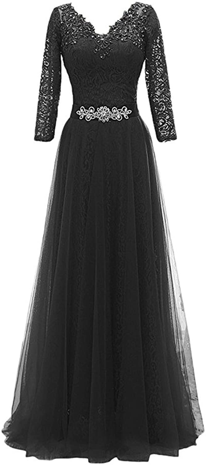Drasawee Women Beaded Middle Sleeve Evening Prom Dress Elegant VNeck Maxi Formal Gowns 7  US14