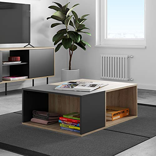 TemaHome Table Basse Boston, Nero E Rovere, 89x67x34 cm (LxPxA)