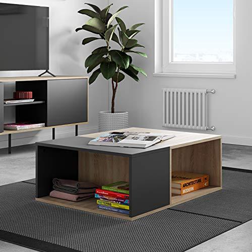 TemaHome Table Basse Boston, Nero E Rovere, 89x67x34 cm (LxPxA)