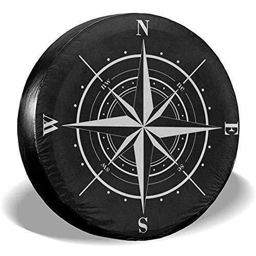 Y.Z.L. Reserveradabdeckung Kompass Windrose Schwarz Weiß Universal Reserverad Ersatzradabdeckung Für Anhänger Rv SUV 14-17IN