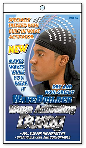 WAVE BUILDER Wave Activating Du-Rag BLACK (Model: 992)