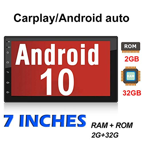 Binize 7 Inch Double Din Car Stereo Radio,Android 10 with Apple Carplay,Android Auto,Bluetooth,GPS Navigation,AM,FM,RDS,DSP,Backup Camera Input,Mirror Link(7 inch Android 10 +Carplay+Android Auto)